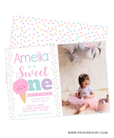 Ice Cream First Birthday Party Invitation with Photo
