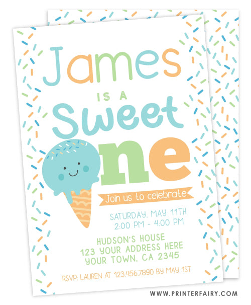 Ice Cream First Birthday Party Invitation