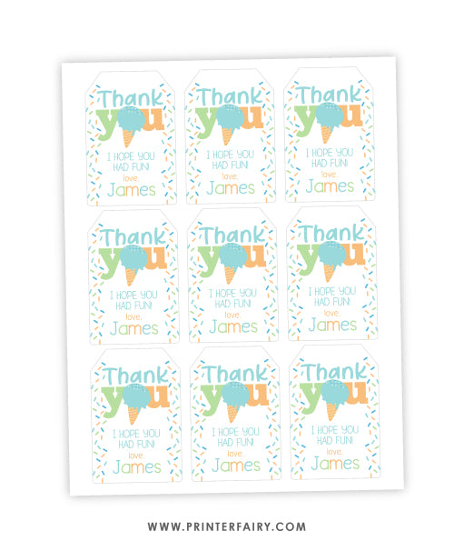 Ice Cream Party Favor Tag