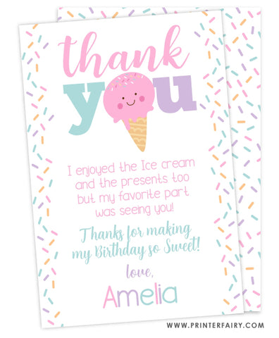 Ice Cream Party Thank You Card