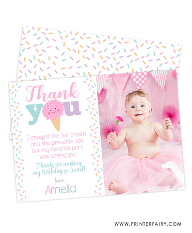 Ice Cream Party Thank You Card with Photo