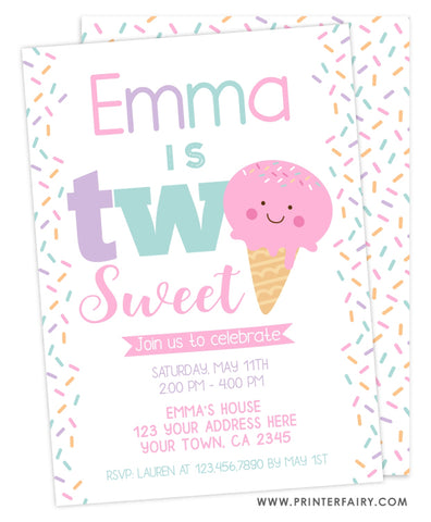 Ice Cream Second Birthday Party Invitation