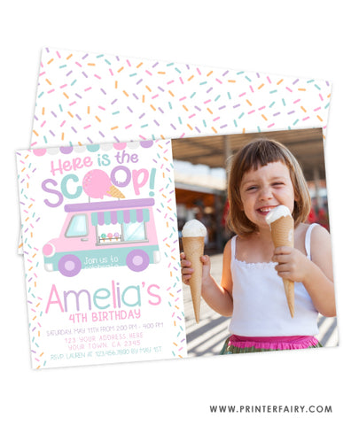 Ice Cream Truck Birthday Party Invitation with photo