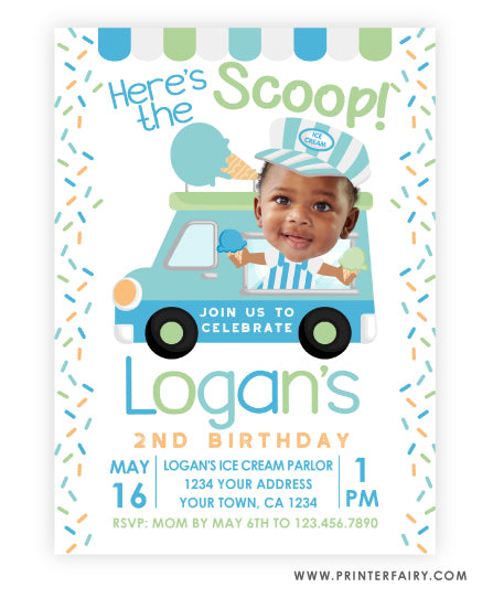 Ice Cream Truck Invitation with Photo