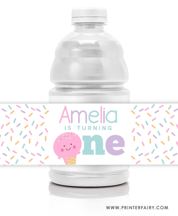 Ice Cream Water Bottle Labels - First Birthday