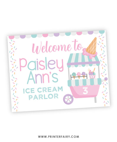 Ice Cream Welcome Sign