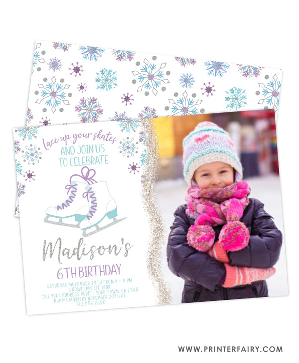 Ice Skating Birthday Party Invitation with Photo