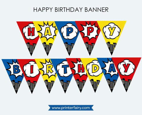 Superhero Birthday Banner
