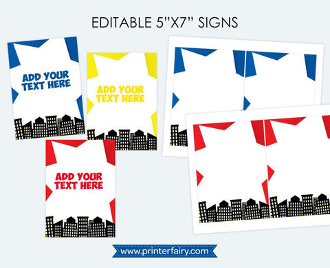 Superhero Editable Sign
