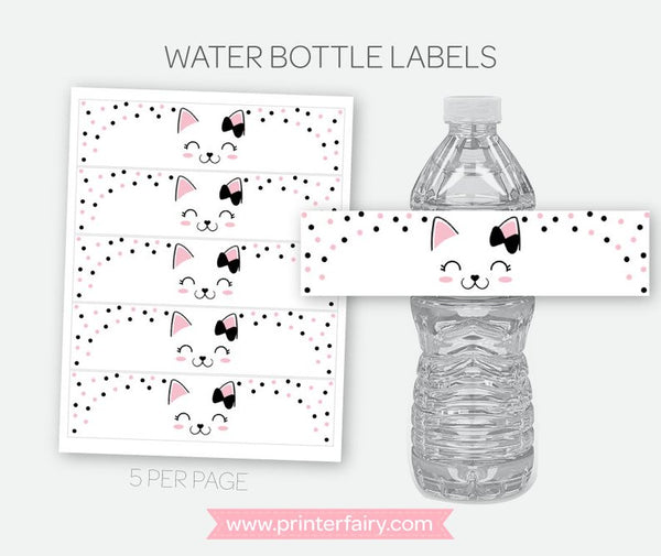 Kitty Cat Water Bottle Labels