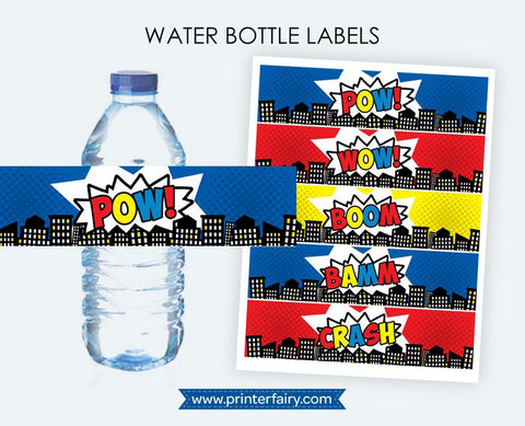 Superhero Water Bottle Labels