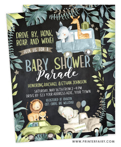 Jungle Drive-thru Baby Shower Invitation
