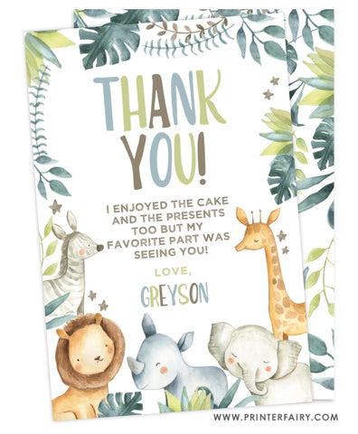 Jungle Party Thank You Card