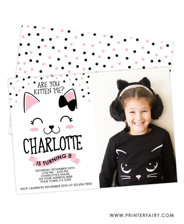 Kitty Cat Birthday Invitation with Photo