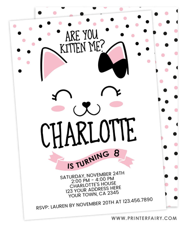 Kitty Cat Birthday Invitation