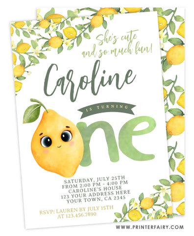 Lemon First Birthday Invitation