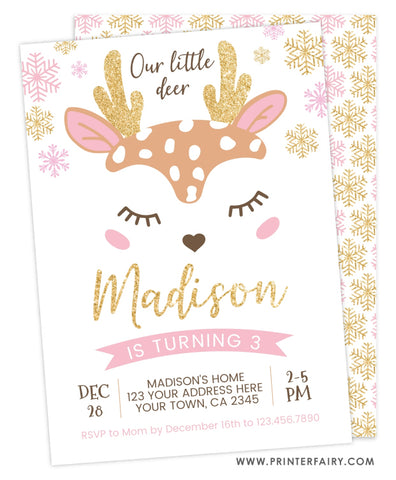 Little Deer Birthday Invitation