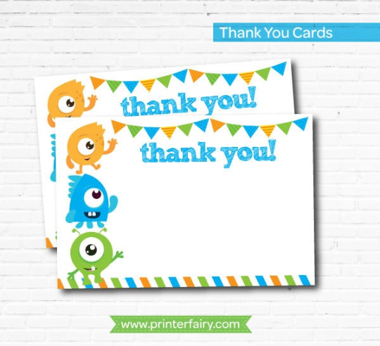 Little Monster Thank You Cards