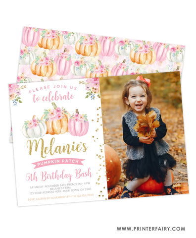 Little Pumpkin Birthday Invitation with Photo
