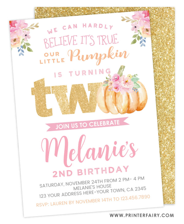Little Pumpkin Second Birthday Invitation