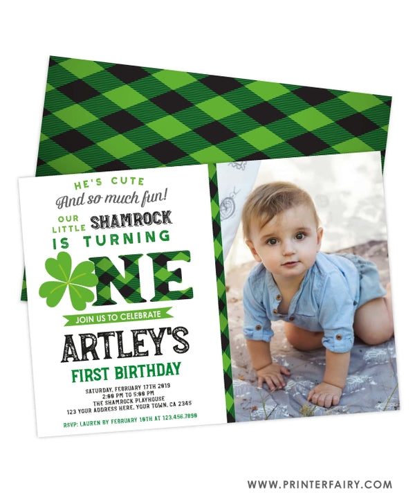 Little Shamrock First Birthday Invitation with Photo