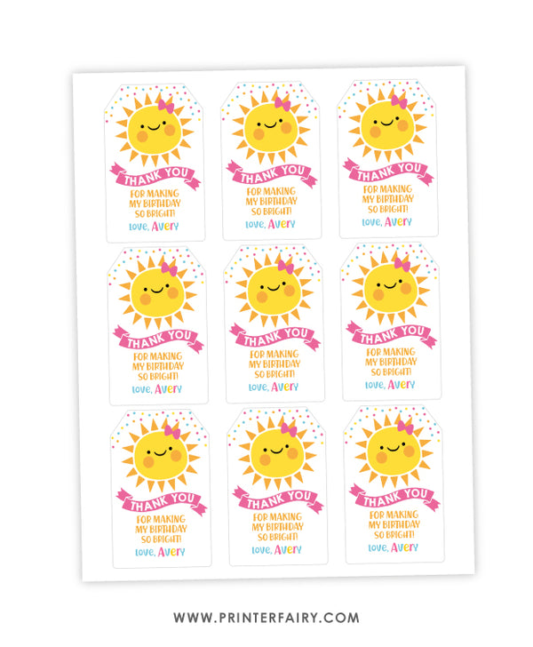 Little Sunshine Favor Tag