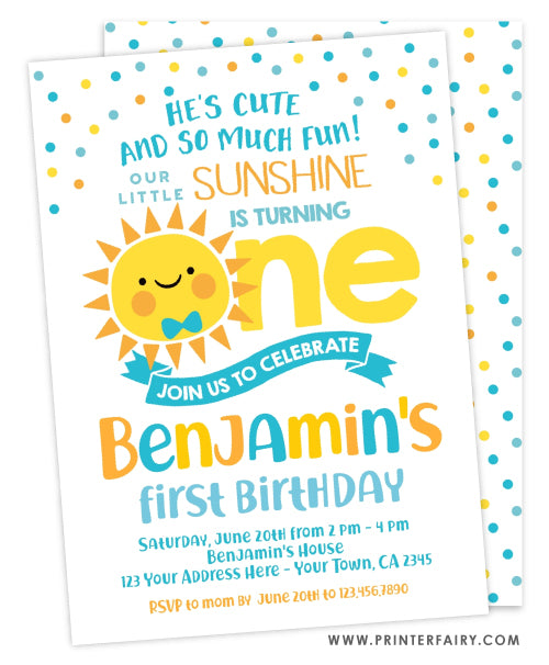 Little Sunshine First Birthday Invitation