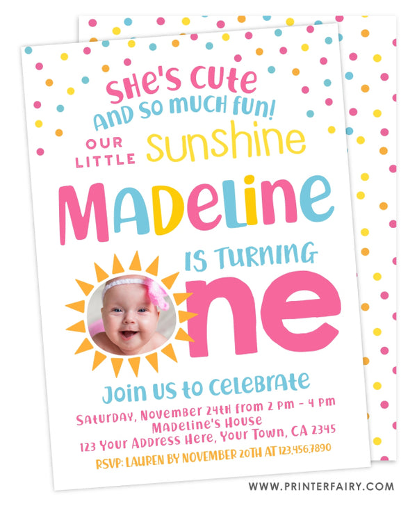 Little Sunshine First Birthday Invitation with Photo