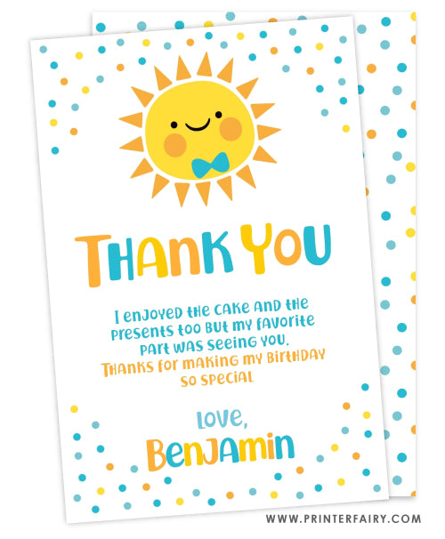 Little Sunshine Thank You Card