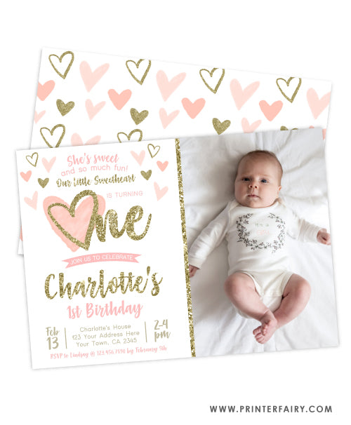 Little Sweetheart First Birthday Invitation with Photo
