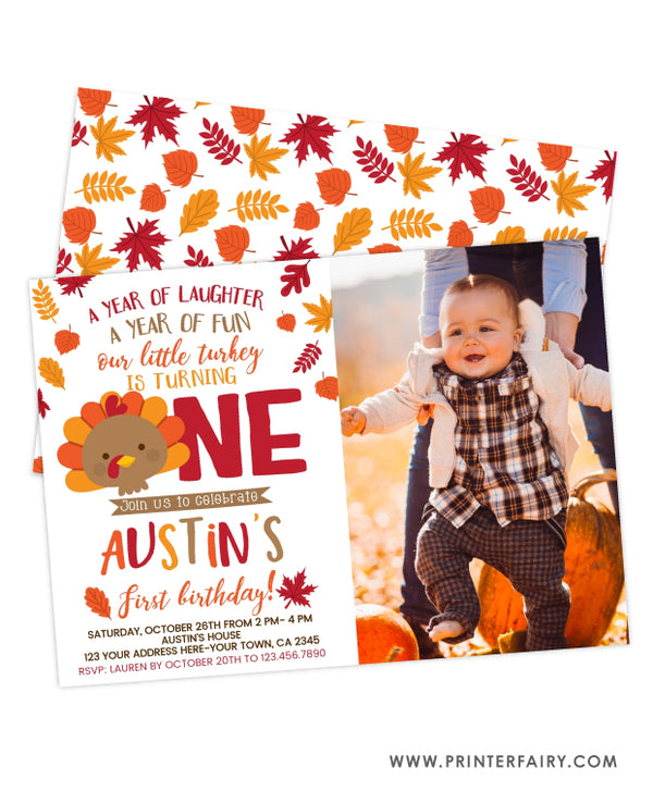 Little Turkey First Birthday Invitation with Photo