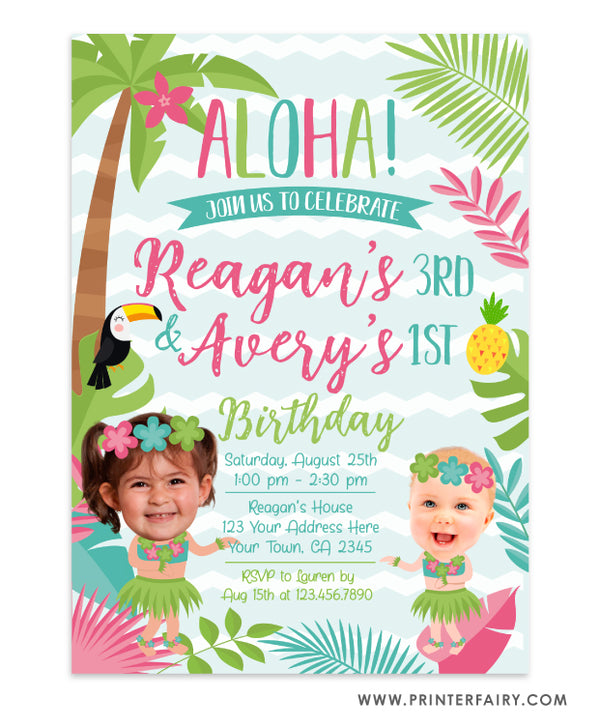 Luau Invitation for Siblings with Photo