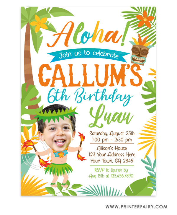 Luau Invitation with Photo