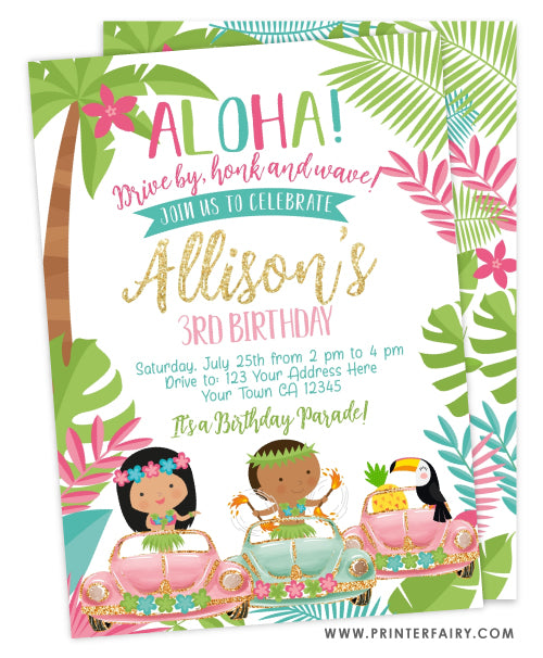 Luau Drive By Birthday Party Invitation