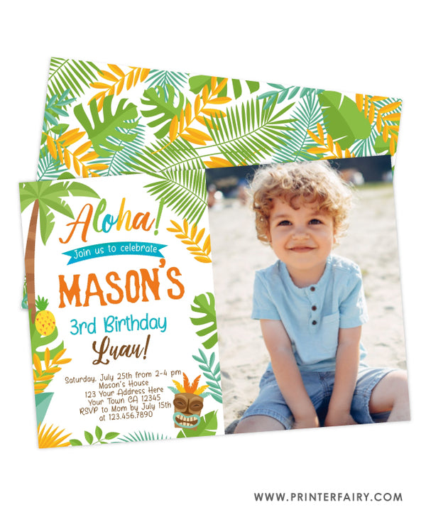 Luau Birthday Party Invitation with Photo