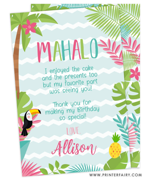 Luau Party Thank You Card