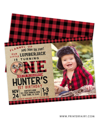 Lumberjack 1st Birthday Invitation with Photo