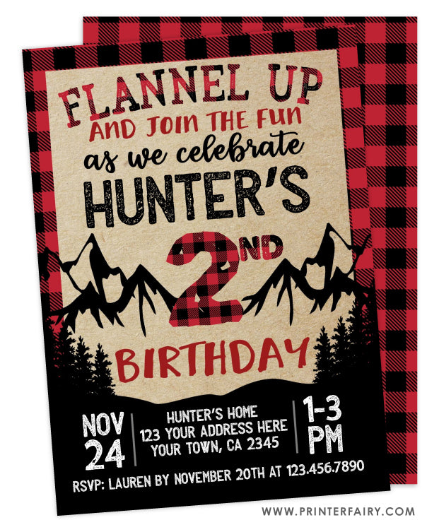 Lumberjack Birthday Invitation | PrinterFairy