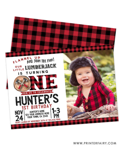 Lumberjack First Birthday Invitation with Photo