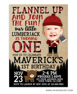 Lumberjack Party Invitation with Photo