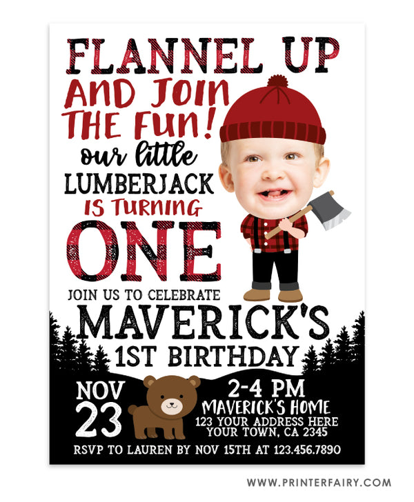 Lumberjack Birthday Invitation with Photo