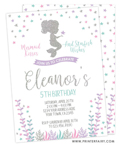 Mermaid Birthday Invitation<br>Silver