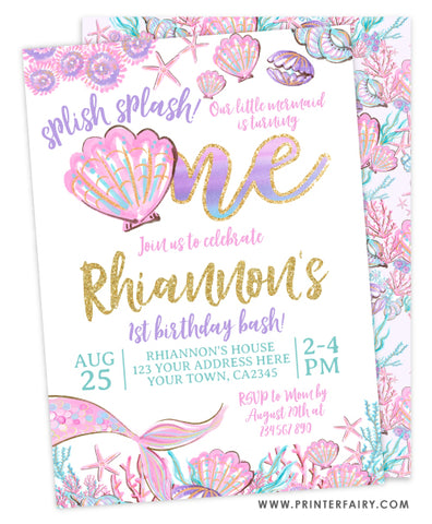 Mermaid First Birthday Invitation