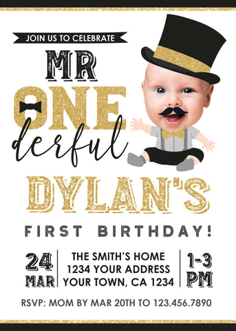 Mr. Onederful Birthday Invitation with Photo