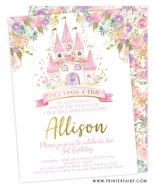 Once Upon a Time Castle Invitation