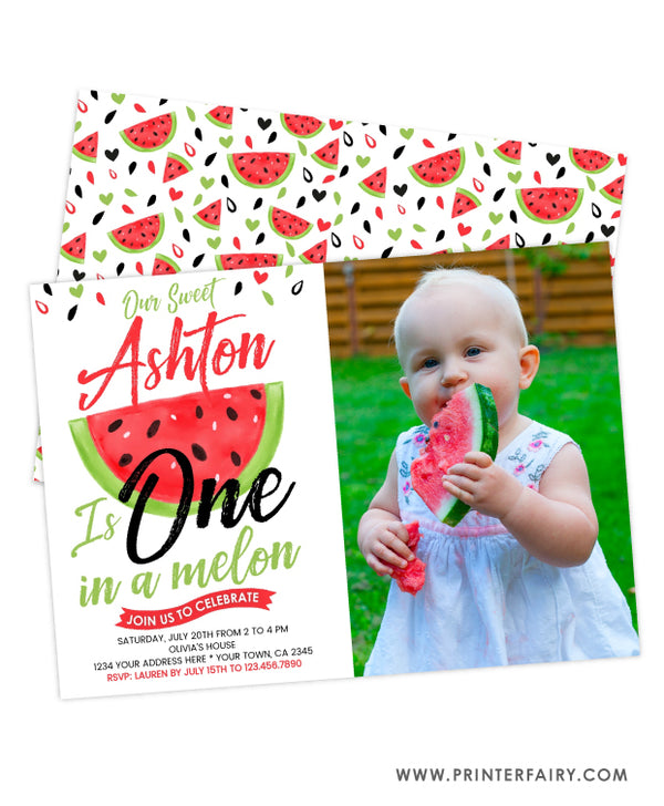 One in a Melon Birthday Invitation with Photo