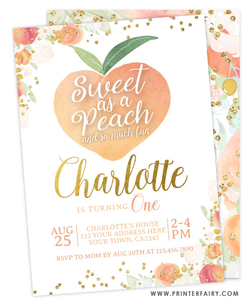 Peach First Birthday Invitation