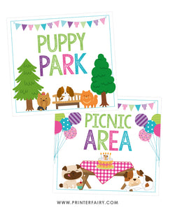 Puppy Park & Picnic Area Signs