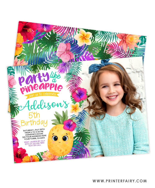 Pineapple Birthday Party Invitation with photo