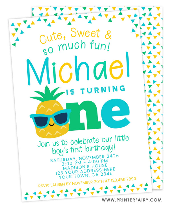 Pineapple First Birthday Invitation